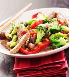 Rindfleischstreifen an Gemüse - chinesische Art