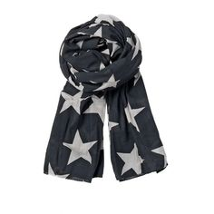 Beck Sonder Gaard Black Star Print Large Silk Scarf ($89) ❤ liked on Polyvore