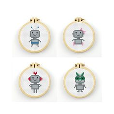 Mini robot Cross Stitch pattern 4 robot patterns by ringcat