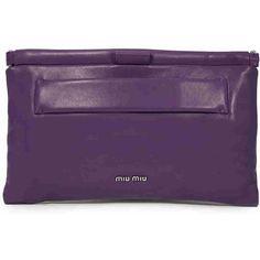 Miu Miu Nappa Leather Clutch - Purple (2,620 SAR) ❤ liked on Polyvore featuring bags, handbags, clutches, miu miu purse, purple clutches, miu miu handbags, purple purse and miu miu