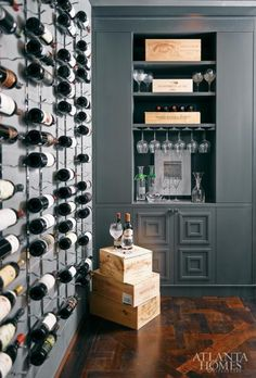 greige: interior design ideas and inspiration for the transitional home : Grey and Orange in the Atlanta Symphony Show House.appears to be a wine room Leather Wall, Build Your Own House, Wine Wall, Atlanta Homes, Transitional House, Building A New Home, Curtain Designs, Wine Storage, Rustic Design