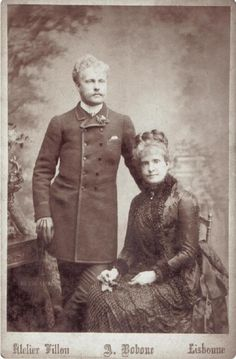 Queen Maria Pia of Portugal and her son, Carlos.