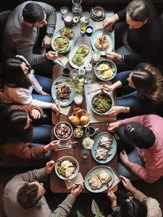 Wooden table with food, top view. Wooden table with food in cafe, top view , Crispy Brussel Sprouts, Beef Wellington, Big Meals, Ground Turkey, Paella, Allrecipes, I Foods, Brunch, Stuffed Peppers