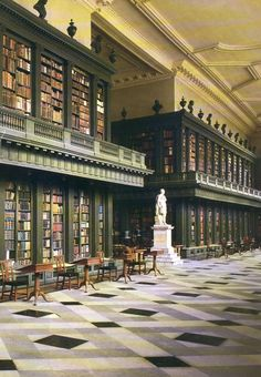 The longest room, at 195 feet, in Oxford, the Codrington Library, designed by Nicholas Hawksmoor, built in the 1730s at the College of All Souls of the Faithful Departed