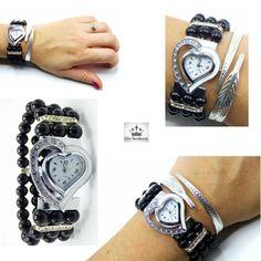 Montre Femme Perle noire, cadran cœur original blanc et chrome souligné de  zirconium de la boutique Clic-Tendance. fr  montre  femme  perle  coeur   original ... abba423fe44