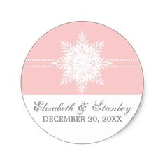 Snowflake pink winter wedding Save the Date Classic Round Sticker
