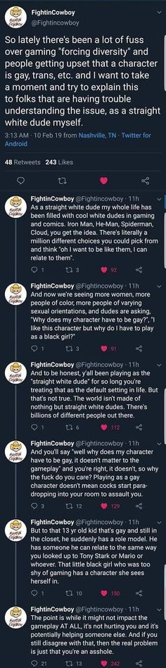 """Forcing Diversity in Gaming and Geek Culture A great post about the so-called """"forced diversity"""" in gaming and geek culture by [Via GG] Geek Culture, Be My Hero, Album Cover, Pokerface, Trinidad James, Faith In Humanity Restored, Gaming, Social Justice, Thought Provoking"""