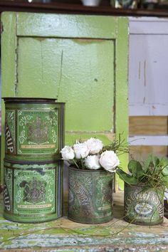 Vintage green tins!