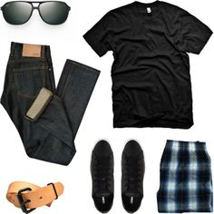American Apparel T-Shirt ($18). 3Sixteen SL-100x Jeans ($200). Maui Jim Dawn Patrol Sunglasses ($209). Fruit of the Loom Low Rise Boxers ($10/4 pack). Tanner Goods Belt ($84). Converse Chuck Taylor All Star Cup Ox Sneakers ($65).