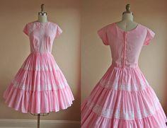 1950s Dress  Vintage 50s Dress  Pink Dotted Swiss by jumblelaya, $78.00