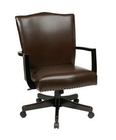 Office Star Morgan Managers Chair with Thick Padded Bonded Leather Seat and Back with Steel Reinforced Wood Base and Dual Wheel Carpet Casters - Espresso