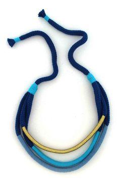 Unique necklace - blue with golden thread on blue rope. m e r q u e x Poppy's Parade
