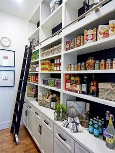 Some of us include a pantry into our kitchen layout. A pantry helps to keep required various items, from canned foods to aprons. A pantry shouldn't always require big area. Read Stylish Kitchen Pantry Ideas 2020 (For Cool Kitchen) Kitchen Pantry Design, Kitchen Pantry Cabinets, Kitchen Ideas, Diy Kitchen, Kitchen With Pantry, Built In Kitchen Appliances, Kitchen Decor, Long Kitchen, Kitchen Counters