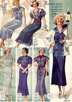 Vintage Fashion Nautical Fashion - Exploring fashion and my growing obsession with the flutter styled skirts that were very popular during a time of austerity and great innovation. Vestidos Vintage, Vintage Dresses, Vintage Outfits, Blue Dresses, Vintage Clothing, Party Dresses, Summer Dresses, 1930s Fashion, Retro Fashion