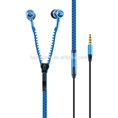 new style metal wired zipper earphones with mic and volume control