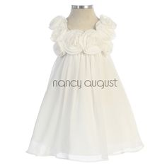 Ready To Wear Chiffon Easter Baby Dress With Rose Square Neck