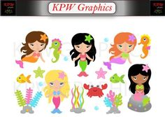 Mermaids Clip-art Set in a PNG format. Personal & Small Commercial use Mermaid Clipart, Clipart Images, School Projects, Clip Art, Scrapbook, Mermaids, Invitations, Etsy, Dolls