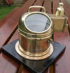 Antique Ships Brass Binnacle Compass by G. Vintage Compass, Jukebox, Nautical, Sons, London, Antiques, Boats, Navy Marine, Antiquities