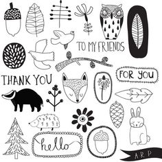 Free downloadable woodland stamps by Alice Potter for PaperCrafter magazine: