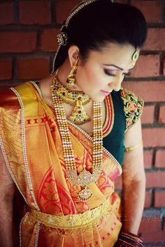 A Hyderabad Wedding at Alankrita Resorts: Sonam and Rahul #kanjivaram #ranihaar #orangesari