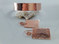 Hammered Copper Cuff and Earrings Boho Jewelry Hammered Copper Earrings Minimalist Bracelet Minimalist Earrings 7th Anniversary Copper Cuff