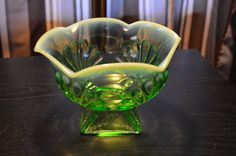Jefferson Glass green opalescent glass bowl- over 100 years old! by RabidPickers on Etsy https://www.etsy.com/listing/180897411/jefferson-glass-green-opalescent-glass