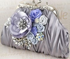 Clutch Bridal Clutch in Periwinkle and Silver Purse by SolBijou