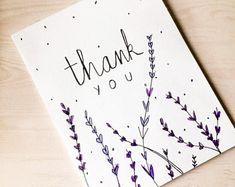Set of Four Thank You Cards - Visiten Karten 2020 Handmade Thank You Cards, Handmade Greetings, Greeting Cards Handmade, Thank You Greeting Cards, Cute Thank You Cards, Handmade Gifts, Birthday Card Drawing, Drawn Birthday Cards, Calligraphy Cards