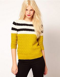 ASOS Fashion Finder | Mango Yellow Stripe Detail Jumper