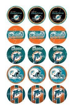 "Miami Dolphins 2 U PRINT.. 1"" Bottle Cap Images Sent To You... U PRINT"