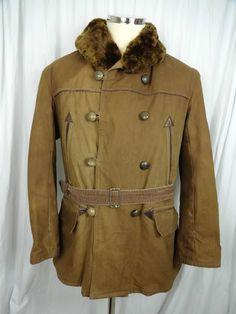 21e3c7dc4c4 Vtg 40s French Canvas Leather Mackinaw Hunting Work Chore Barnstormer Jacket  42