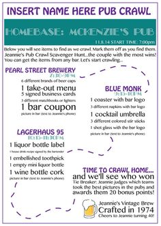 Personalized Pub Crawl Map by ShirleyAnneDesign on Etsy