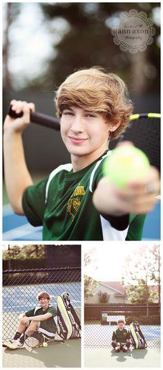 Senior boy with tennis racquet and ball.  ©Ann Axon Photography, ideas for my boys who play...
