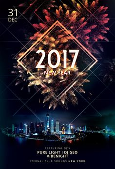 New Year Flyer Template by styleWish (Buy PSD file $9) Celebrate the new year with this dark poster design.