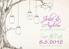 VINTAGE TREE Mason Jar Wedding Save the Date- You Print, DIY, Digital File. $15.00, via Etsy.