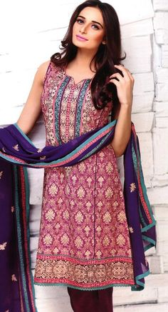 Magenta Embroidered Chiffon Suit $131.99 SEMI PARTY DRESSES Pakistani Indian Dresses Online, Men Women Clothing and Shoes | PakRobe.com