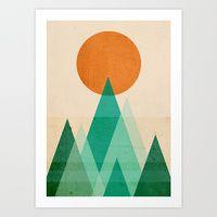 Art Prints featuring No mountains high enough by Budi Kwan
