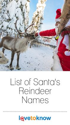Santa Claus is a Christmas icon, but he wouldn't be anywhere without his reindeer. They are an integral part of the Santa Claus legend and bring joy to millions of people. Learn the names of Santa's reindeer yourself to prepare for the holiday season. Christmas Icons, Christmas History, Christmas Music, Christmas Recipes, Christmas Gifts, Christmas Decorations, Holiday, Santas Reindeer Names, Santa And Reindeer