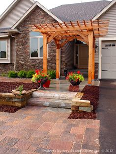 Custom Crafted Front Entrance Cedar Arbor with Borgert Strassen® Bavaria Tumbled Paver Patio by Switzer's Nursery & Landscaping, via Flickr