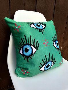 Evil Eye Pillow Throw Pillow Decorative by McDonaldMixedMedia
