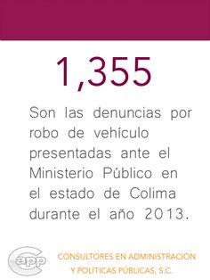 Dato sobre las denuncias por robo de vehículo en el estado de Colima.