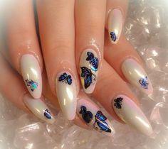White aurora nails