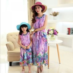 More info new mother daughter dresses family matching outfits mommy and me clothes floral sleeveless women fashion chiffon dress Bohemia Outfit, Bohemia Clothes, Mommy And Me Outfits, Kids Outfits, Family Clothing Sets, Kids Clothing, Summer Dresses 2017, Princess Dress Kids, Matches Fashion
