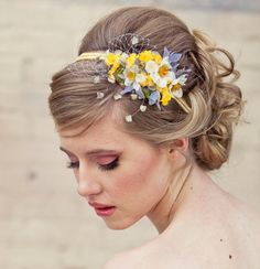 This would be so cute then ppl could do up or down & short or long with this head band incorporated & the grey/blue would pull in the dress with the sunflowers