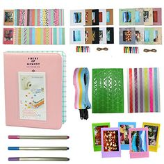 Alohallo Mini 8 Instant Camera Accessories for FujiFilm Instax Mini 8 Camera with Mini Album Frame Sticker Borders Strap PensPink >>> Learn more by visiting the image link.