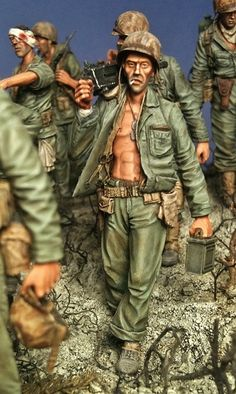 """Ghosts of Bloody Nose Ridge"" 1st Marines on Peleliu October 1944. 1/35 scale. By Brian Wildfong. Pacific Theater #WW2 #diorama"
