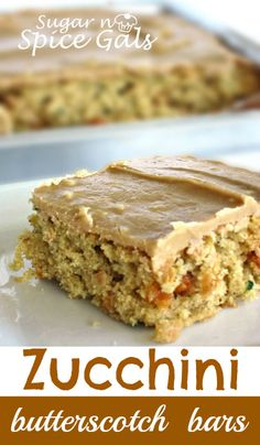 These butterscotch zucchini bars are yum! For those with an overload of zucchini, you've gotta try this. Or just go pick up some zucchini at the store