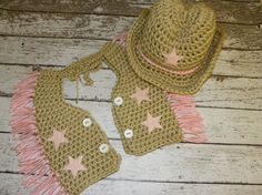 Crochet Cowgirl hat and chaps in tan and by TrebleStitchBoutique, $40.00