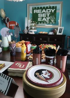 Fear the Spear - Football Birthday Party Ideas, Food, Decor and Activities. Florida State Party Ideas Football Favors, Football Themes, Chocolate Covered Pretzel Sticks, Football Birthday, Tailgate Food, Birthday Party Themes, Party Ideas, Activities, Florida