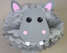 Hippo Hippopotamus pom pom kit jungle safari noahs ark carnival circus baby shower first birthday party decoration - Edit Listing - Etsy